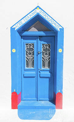 Concept Photograph - Grunge Old Blue Doors In Oia Town, Santorini, Greece. by Michal Bednarek