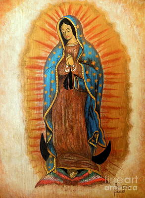 Virgen De Guadalupe Painting - Guadalupe Virgin by Fanny Diaz