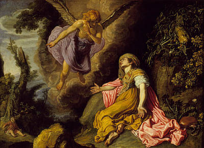 Religious Art Painting - Hagar And The Angel by Pieter Lastman