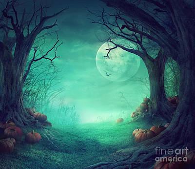 Haunted Digital Art - Halloween Background by Mythja  Photography