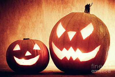 Evil Photograph - Halloween Pumpkins Glowing, Jack-o-lantern by Michal Bednarek