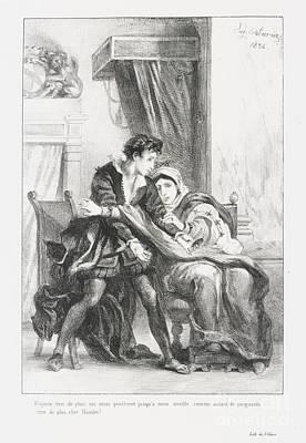 Hamlet Et La Reine Print by Eugene Delacroix