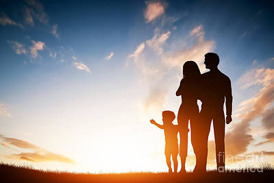 Father Photograph - Happy Family Together At Sunset by Michal Bednarek