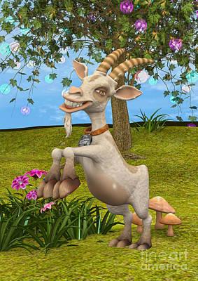 Digital Art - Happy Goat by Design Windmill