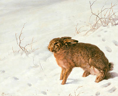 Ferdinand Von Rayski Painting - Hare In The Snow by Ferdinand von Rayski