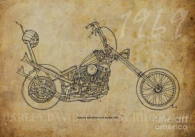 Harley Davidson Mixed Media - Harley Davidson Easy Rider 1969 by Pablo Franchi