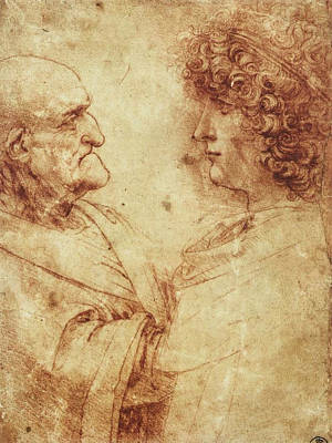 Heads Of An Old Man And A Youth Print by Leonardo da Vinci