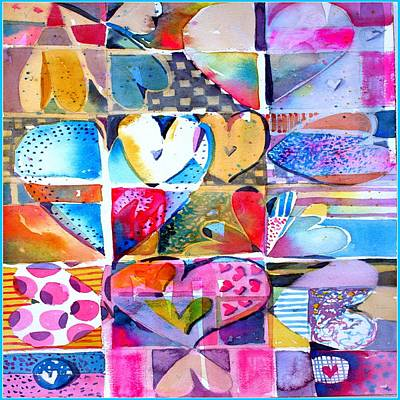 Abstract Hearts Drawing - Heart Throbs by Mindy Newman