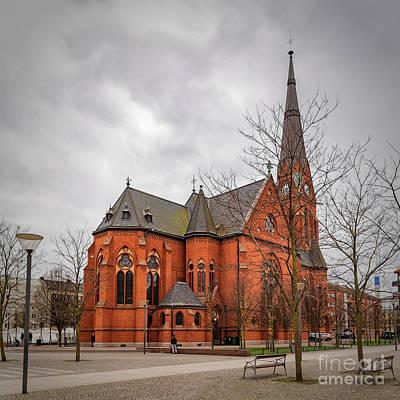 Grey Clouds Photograph - Helsingborg Gustav Adolf Church by Antony McAulay