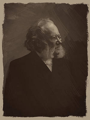 Author Digital Art - Henrik Ibsen by Afterdarkness