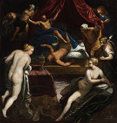 Unclothed Painting - Hercules Expelling The Faun From Omphale's Bed by Tintoretto