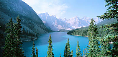 Moraine Lake Photograph - High Angle View Of A Lake, Moraine by Panoramic Images