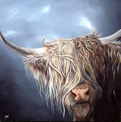 Highland Cow Isle Of Mull Original by Aaron De la Haye