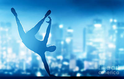 Club Photograph - Hip Hop Break Dance Performed By Young Man In City Lights by Michal Bednarek