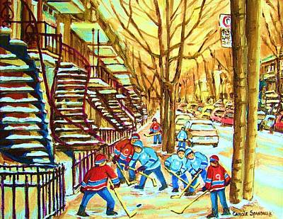 Montreal Winter Scenes Painting - Hockey Game Near Winding Staircases by Carole Spandau