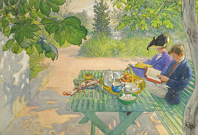 Carl Larsson Drawing - Holiday Reading by Carl Larsson