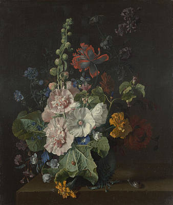 Hollyhocks And Other Flowers In A Vase Print by Celestial Images