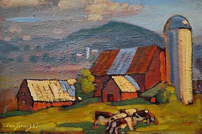 Farm And Barns Painting - Holstein Heifers by Len Stomski