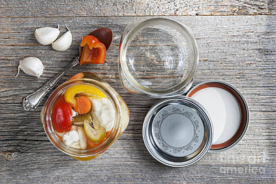 Canning Photograph - Homemade Preserved Vegetables by Elena Elisseeva