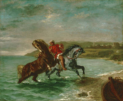 Horses Coming Out Of The Sea Print by Eugene Delacroix