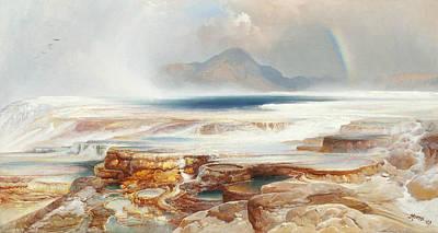 Hot Springs Of The Yellowstone Print by Thomas Moran