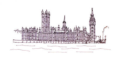 Big Ben Drawing - Houses Of Parliament by Steve Huang