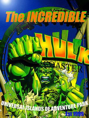 Incredible Hulk Painting - Hulk Coaster 1999 by David Lee Thompson