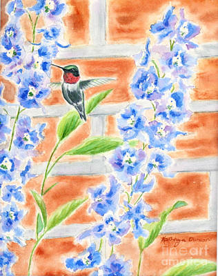 Brick Painting - Hummer And Delphiniums by Kathryn Duncan