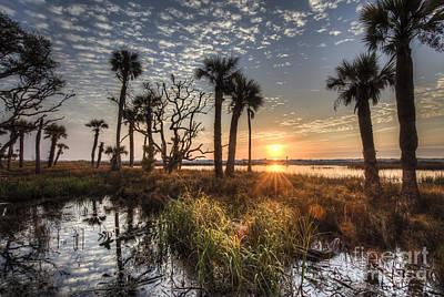 Palmetto Tree Photograph - Hunting Island State Park Beach Sunrise by Dustin K Ryan