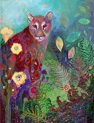 Mountain Lion Painting - I Am The Forest Path by Jennifer Lommers