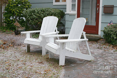 Ice-coated Chairs Print by Ted Kinsman