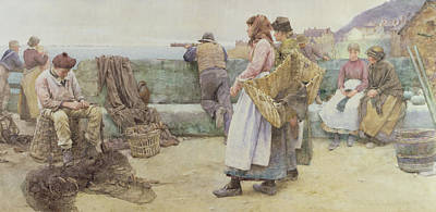 In A Cornish Fishing Village Print by Walter Langley