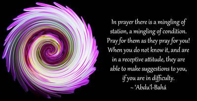 In Prayer A Mingling Of Station Print by Glenn Franco Simmons' Baha'i Writings As Art
