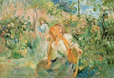 With Red. Photograph - In The Garden At Roche Plate by Berthe Morisot