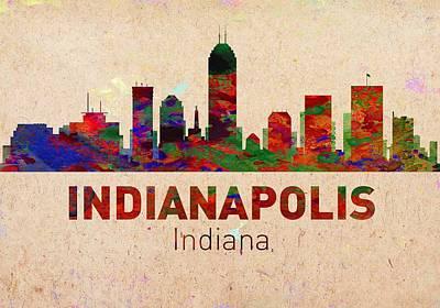 City Digital Art - Indianapolis Skyline - Usa City by Michael Vicin