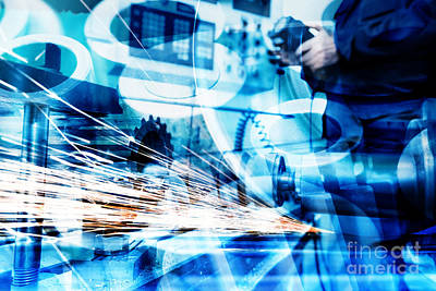 Worker Photograph - Industrial Technology Abstract Background by Michal Bednarek