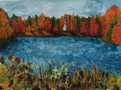 Autumn Landscape Mixed Media - Institute Park Worcester Ma by Lynn Babineau