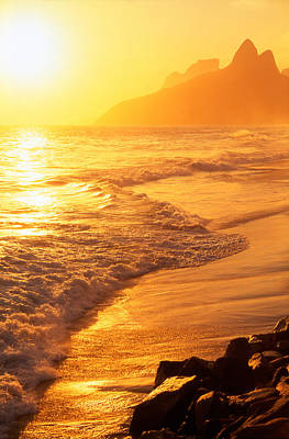Ipanema Beach Rio De Janeiro Brazil Print by Utah Images