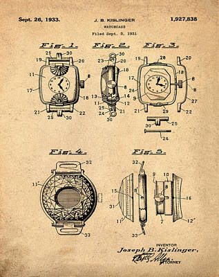 Sepia Chalk Drawing - J B Kislinger Watch Patent 1933 Red by Bill Cannon