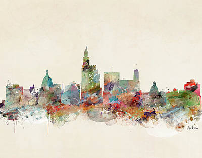 Mississippi State Map Digital Art - Jackson Mississippi Skyline by Bri B