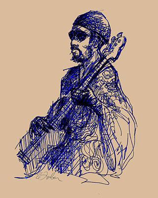 Jamaican Digital Art - Jamaican Guitar Player by Edward Farber