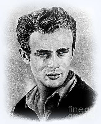 1950s Portraits Drawing - James Dean  by Andrew Read