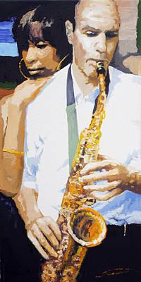 Figurativ Painting - Jazz Muza Saxophon by Yuriy  Shevchuk