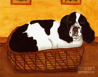 Cocker Spaniel Painting - Jd In The Cat Bed by Sue Martin