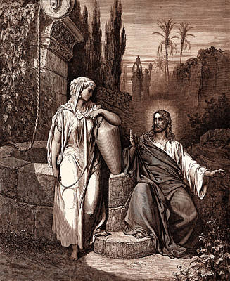 Religious Drawing - Jesus And The Woman Of Samaria by Gustave Dore