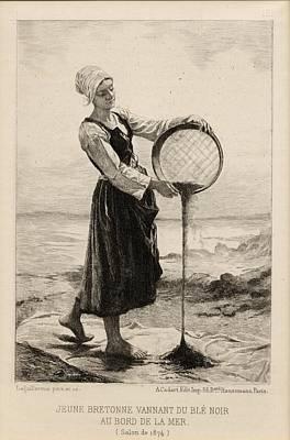 Jeune Bretonne Vannant De Bl  Noir Au Print by Vintage Design Pics