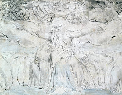 Blake Drawing - Job And His Daughters  by William Blake