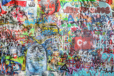 Paint Photograph - John Lennon Wall, Prague, Czech Republic. Graffiti Background by Michal Bednarek