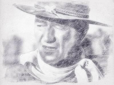 John Wayne Drawing - John Wayne By John Springfield by John Springfield