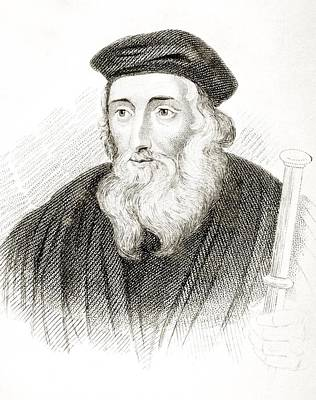 Bible Drawing - John Wycliffe Also Spelled Wycliff by Vintage Design Pics